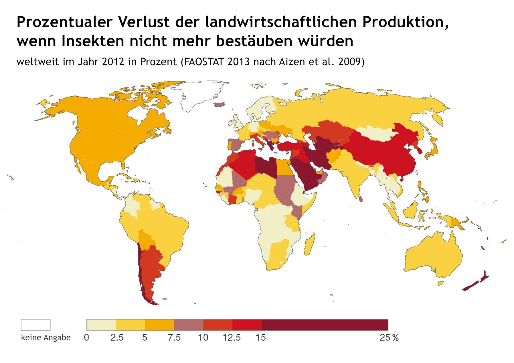 Weltweiter Verlust der landwirtschaftlichen Produktion, wenn Insekten nicht mehr bestäuben würden im Jahr 2012 in Prozent