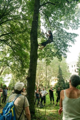 Kletter Demonstration der Zeidler bei Learning from the Bees Berlin 2019 · Foto: Silke Meyer